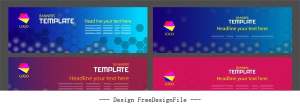Corporate banners templates modern colored flat polygonal vector