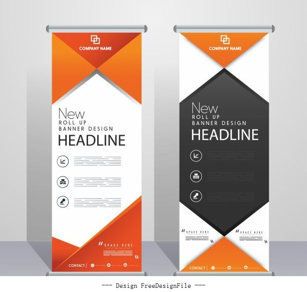 Corporate banners templates modern roll up vectors