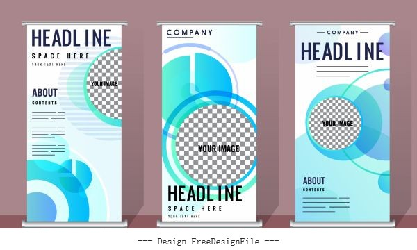 Corporate banners templates modern flat checkered vertical vector