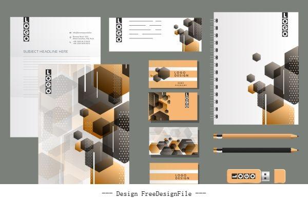 Corporate brand identity sets modern blurred polygonal decor vector
