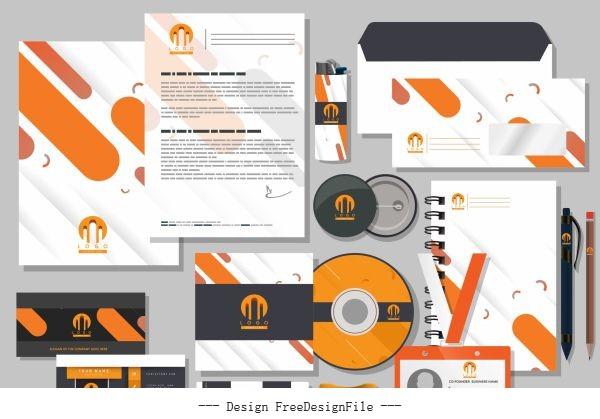 Corporate branding identity sets flat dynamic vector