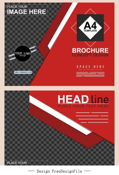 Corporate brochure template black red modern checkered vector