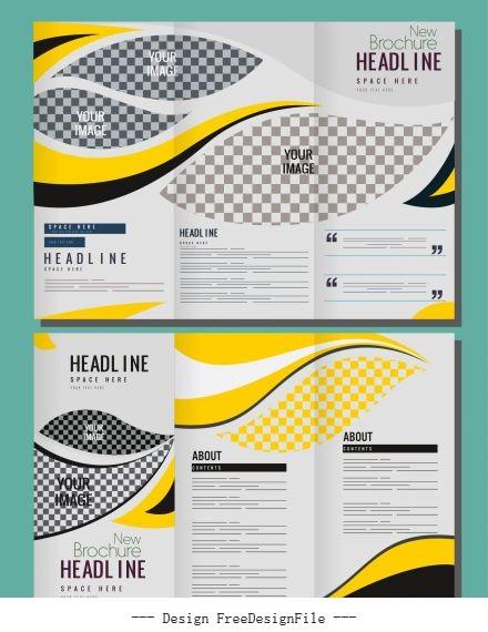 Corporate brochure templates bright curves vector