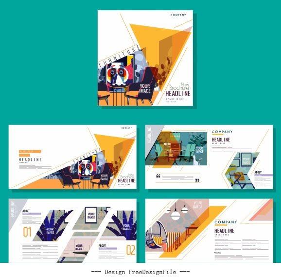 Corporate brochure templates furniture colorful vector