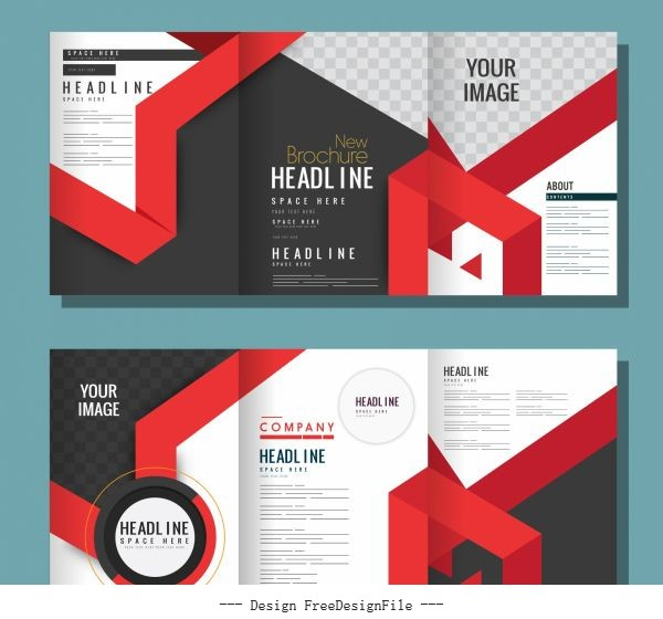 Corporate brochure templates modern abstract decor trifold shape vector