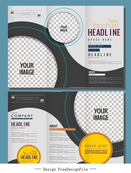 Corporate brochure templates modern checkered circles vector