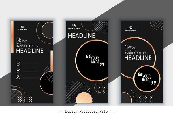 Corporate brochure templates modern dark black vector