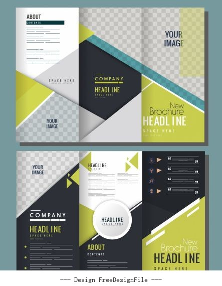 Corporate brochure templates trifold shape modern elegant checkered vector
