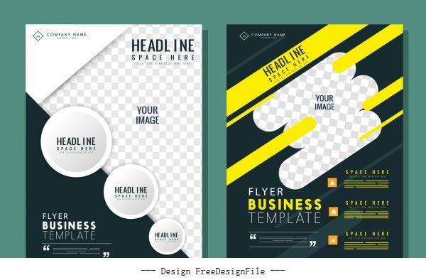 Corporate flyer template modern dynamic contrast decor vector