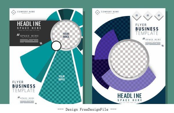 Corporate flyer templates modern checkered geometric vector