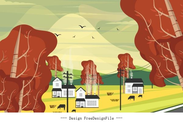 Countryside field scene painting colorful vector set