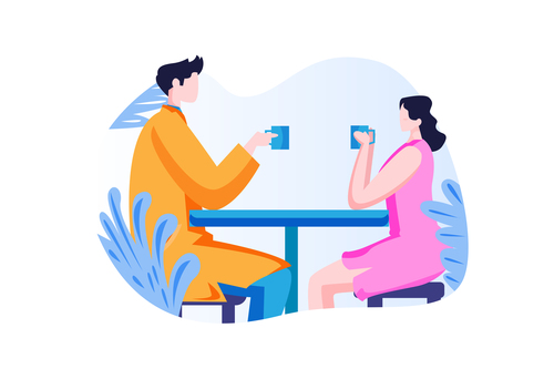 Couple drinking coffee together cartoon vector