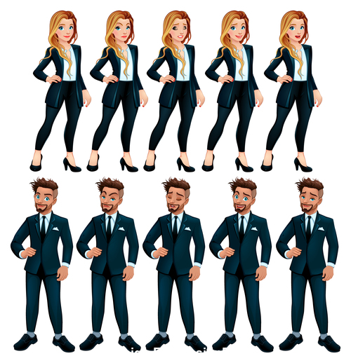 Couple of workers with different expressions cartoon vector