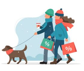 Couple shopping shopping cartoon vector illustration