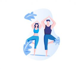 Couple yoga cartoon vector