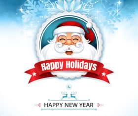 Cover happy new year santa greeting card vector