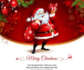 Cover santa greeting card vector