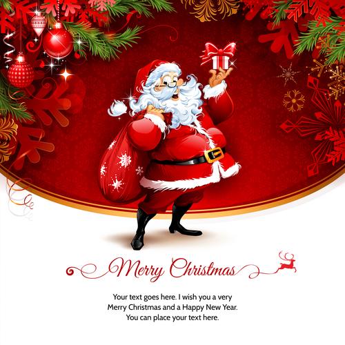 Cover santa greeting card vector