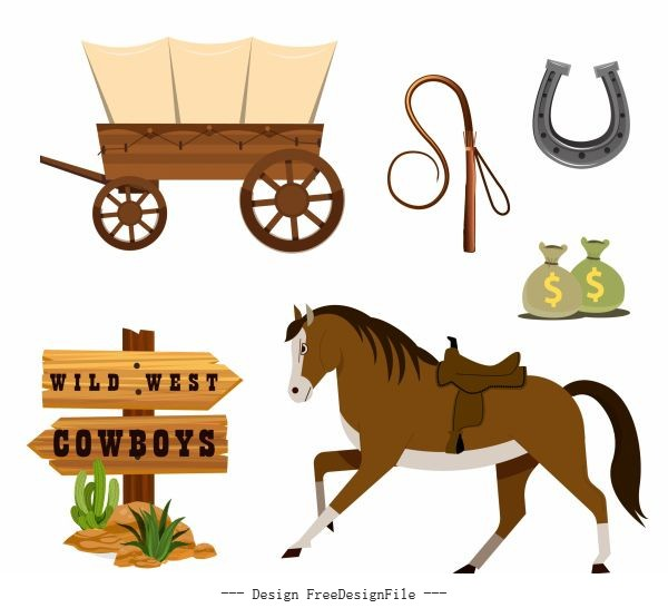 Cowboy elements colored symbols vector design