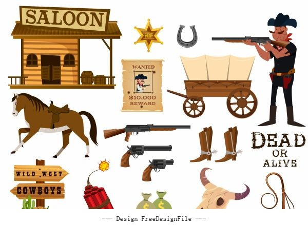 Cowboy elements objects police symbols vector