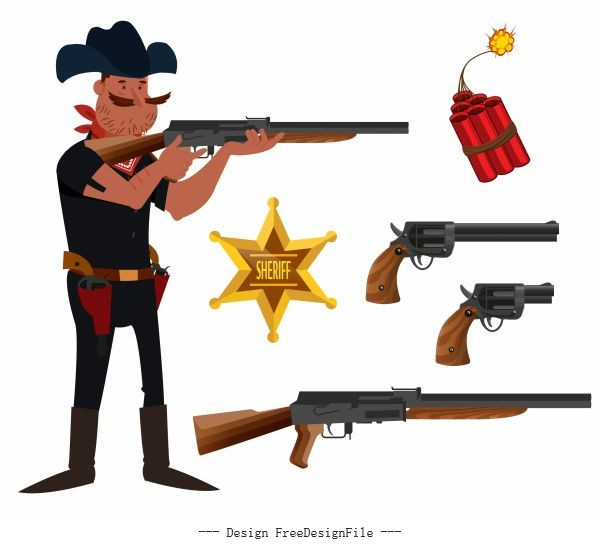 Cowboy elements sheriff weapons cartoon vector design