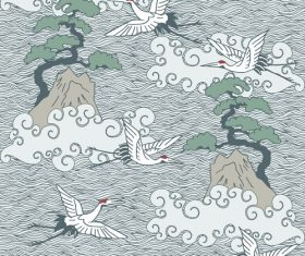 Cranes pattern background vector