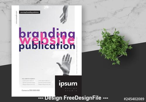 Creative agency flyer layout with pink vector