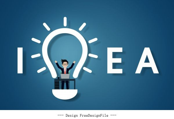 Creative idea text light bulb on blue background businessman in workspace sit at desks with computer vector