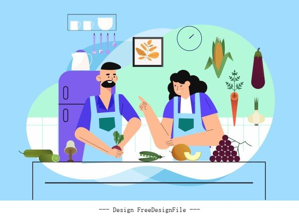 Culinary background kitchen cooks ingredients vector
