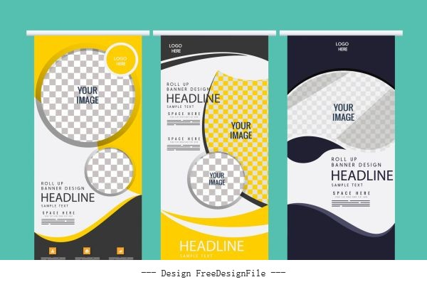 Curl up banner templates modern abstract vector