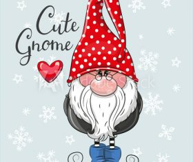 Cute cartoon gnome vector