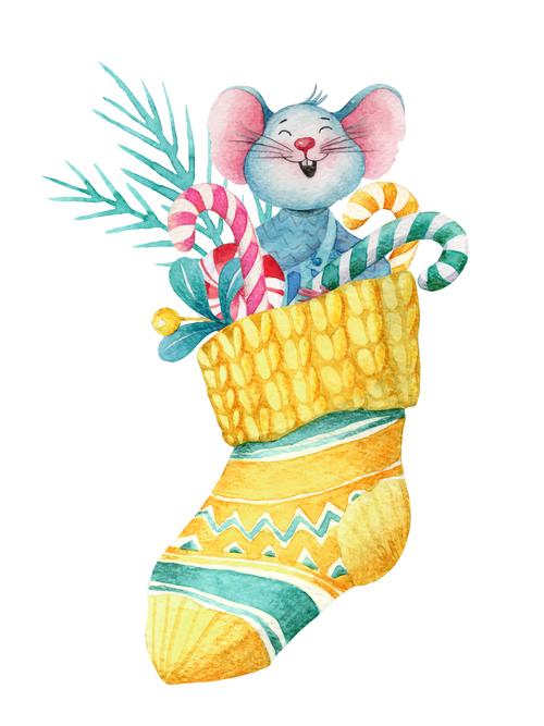 Cute christmas greetings greeting card watercolor illustrations vector