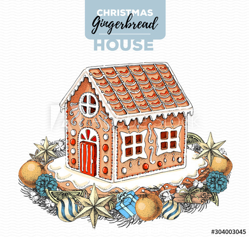 Cute gingerbread house hand drawn illustration vector