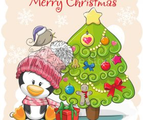 Cute penguin and christmas tree cartoon vector