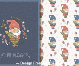 Cute santa and cartoon background vector