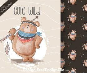 Cute wild cartoon pattern background vector