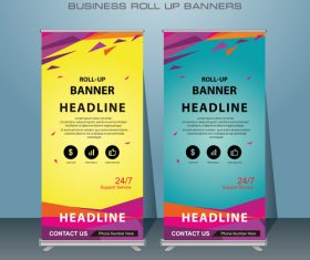 Cyan and yellow background roll up banners vector
