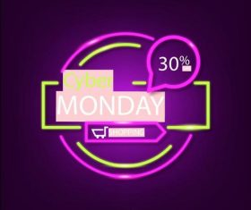 Cyber monday concept with neon background vector