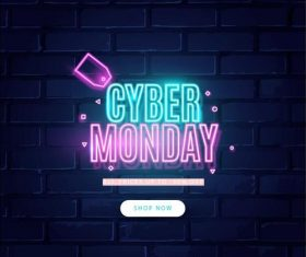 Cyber monday concept with neon design vector 01