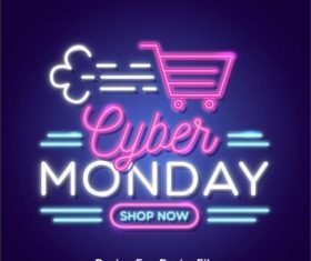 Cyber monday concept with neon design vector 02