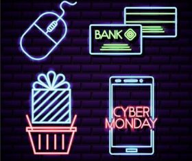 Cyber monday shop neon signboard vector