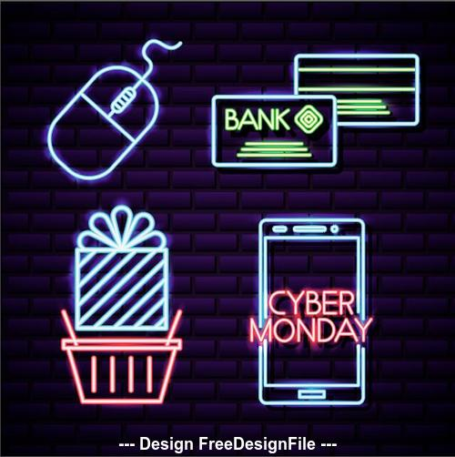 Cyber monday shop neon signboard vector