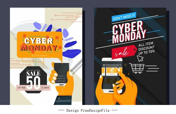 Cyber monday posters digital trading technology vector material