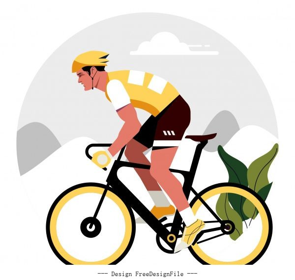 Cyclist painting colorful flat cartoon character vector