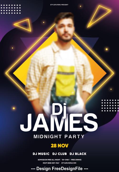 DJ Flyer Midnight Party Flyer PSD Template