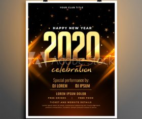 Dark black gold new year party cover flyer vector