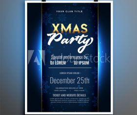 Dark blue background christmas party flyer vector