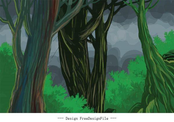 Dark jungle midnight scenery background vector graphics