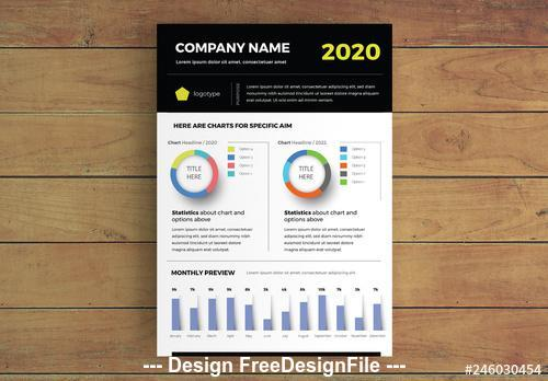 Data report Infographic with charts vector