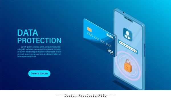 Data protection concept protect data finance and confidentiality with high security flat isometric illustration shiny vector